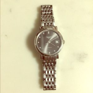 Longines Elegant watch with diamonds & black dial